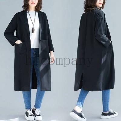 スプリングコートトレンチコートレディースフード付きロングコート春秋カジュアルコーディガンゆったりジャケット大きいサイズアウター