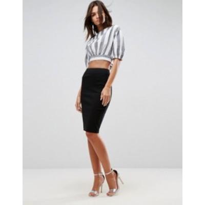エイソス レディース スカート ボトムス ASOS DESIGN high waisted pencil skirt Black