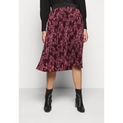 カプセル バイ シンプリー ビー スカート レディース ボトムス FLORAL PLEAT MIDI SKIRT - A-line skirt - berry