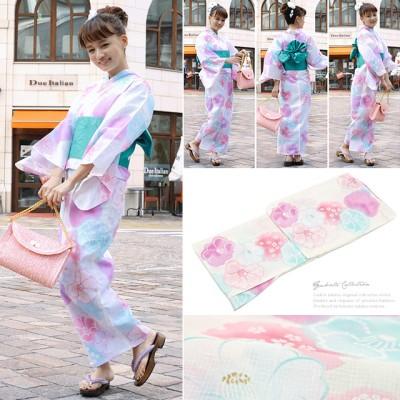 bonheur saisons ボヌールセゾン 浴衣 半幅帯 下駄 3点セット 椿 桜