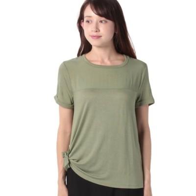 (BENETTON (women)/ベネトン レディース)サイドリボン異素材Tシャツ・カットソー/レディース カーキ