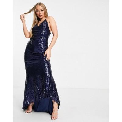 クラブエル ロンドン Club L London レディース ワンピース キャミワンピ Club L low back sequin cami maxi dress with fishtail in navy ネイビー