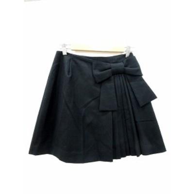 【中古】アナトリエ ANATELIER スカート フレア ミニ リボン 36 黒 ブラック /MN レディース