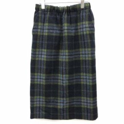 【中古】オニール オブ ダブリン O'NEIL OF DUBLIN F36 スカート ロング タイト チェック ウール 紺 緑 レディース