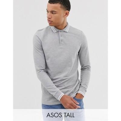エイソス メンズ シャツ トップス ASOS DESIGN Tall long sleeve tipped pique polo shirt in gray marl