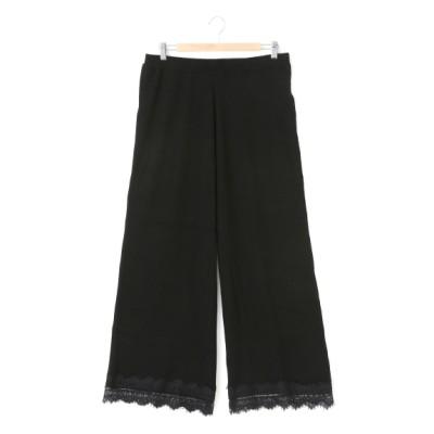 【大きいサイズ】裾レースリブワイドパンツ 大きいサイズ 大きいサイズ パンツ レディース