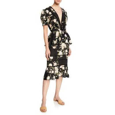 ジョアンナオッティ レディース ワンピース トップス Floral Print Eyelet Dress
