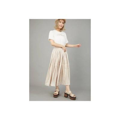 セシルマクビー CECIL McBEE シャイニーギャザースカート (アイボリー)