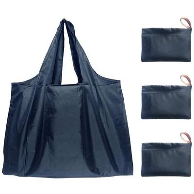 エコバッグ 折りたたみ買い物袋 防水素材 大容量 収納 軽量 コンパクト 3点セット (ネイビー)