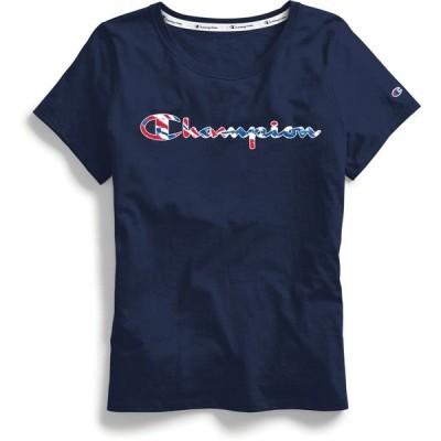 チャンピオン Tシャツ トップス レディース Champion Women's Tie Dye Classic Script T-shirt Navy