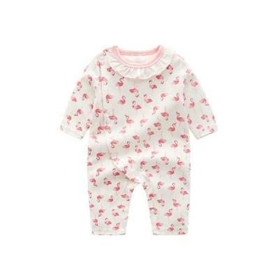 REEGOO PETER ベビー服 長袖ロンパース 前開き 襟付き 新生児 女の子 春秋 綿 カバーオール 赤ちゃん フラミンゴプリント ホワイト 9