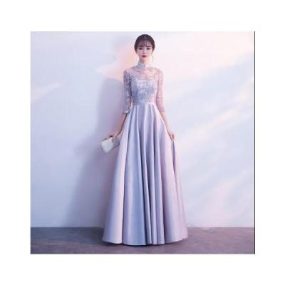 韓国風 ロングドレス 刺繍 立ち襟 Aラインドレス パーティードレス レディース 演奏会ドレス ワンピース 上品 お嬢様 結婚式 二次会 花嫁ドレス お呼ばれドレス