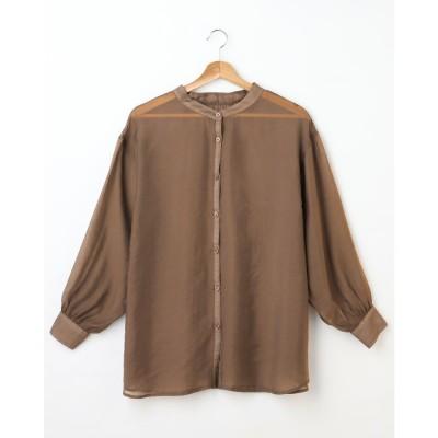 アラマンダ allamanda バンドカラーシアーシャツ (ブラウン)