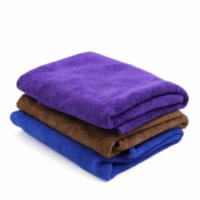 uxcell 洗浄用タオル 自動車ワックス用 洗濯タオル 40cmx40cm 紫 コーヒーカラー ブルー 3個入り