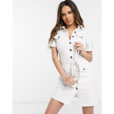 パリジャン レディース ワンピース トップス Parisian denim shirt dress with tie waist in white