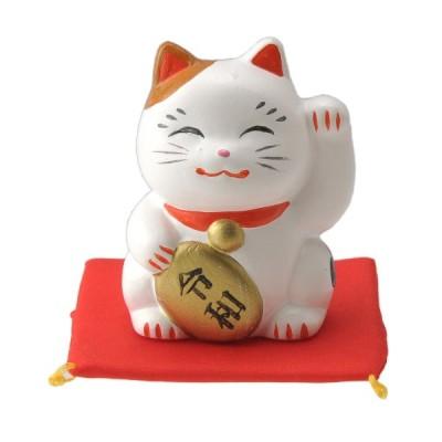 招き猫 / 令和ネコ みけ左(座布団付) : 寸法 高さ 6.8cm