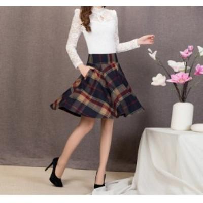 レディース 秋 冬 スカート Aライン ひざ丈 チェック柄 格子縞 プリーツ ハイウエスト 大きいサイズ ゆったり デート お出かけ