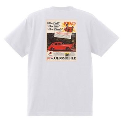 アドバタイジング オールズモビル 691 白 Tシャツ 黒地へ変更可 1941 ロケット アメ車 アドバタイズメント 看板 広告 雑誌
