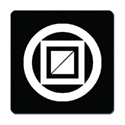 家紋 捺印マット 丸に二重枡紋 11cm x 11cm KN11-0719W 白紋