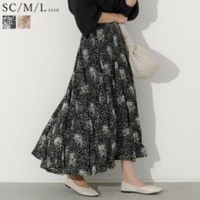 [低身長向けSサイズ対応]総柄フレアマキシスカート レディース フレアスカート ロングスカート マキシスカート 花柄