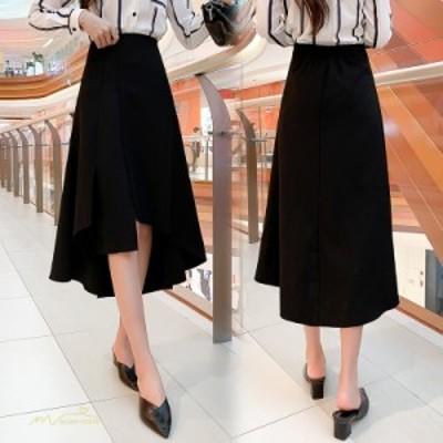 Aラインスカート レディース フレアスカート ロングスカート ランダム裾 無地 オフィス シルエット エレガント ファッション 通学 通勤