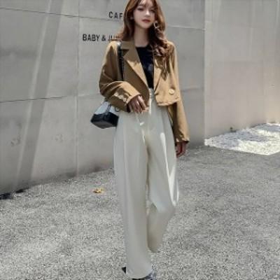 ジャケット セットアップ レディース 春 パンツ 韓国 ファッション ラテカラー テーラードジャケット ショートジャケット テーパードパン