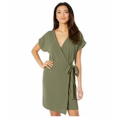 ボベー レディース ワンピース トップス Short Sleeve Crepe Wrap Dress Army Green