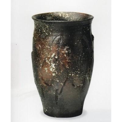 黒釉傘立 (信楽焼・陶器・傘立・梅雨・玄関・H)