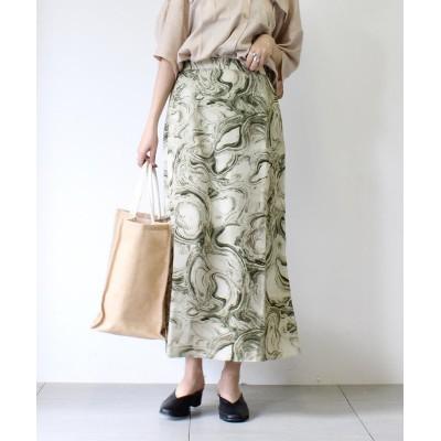 【アンレリッシュ】 マーブルエアリーマーメイドスカート レディース カーキ M UNRELISH