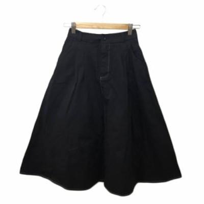 【中古】フィフス fifth スカート フレア ギャザー ロング タック 無地 黒 ブラック 〇 レディース