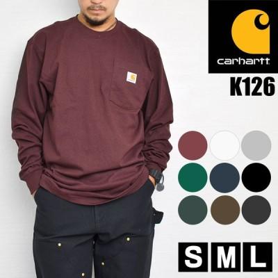 Tシャツ 長袖 carhartt カーハート ロンT ポケット メンズ レディース 黒 ブラック グレー ヘザーグレー ポケ付きロンT K126
