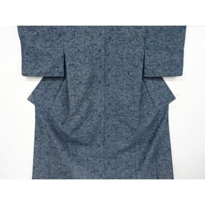 宗sou 抽象風景模様織り出し手織り紬単衣着物【リサイクル】【着】