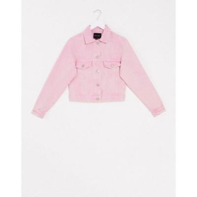 ブレーブソウル レディース ジャケット・ブルゾン アウター Brave Soul acid wash denim jacket in pink