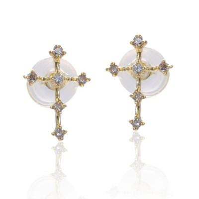 即納 ダイヤモンドピアス 18金 イエローゴールド クロス 十字架