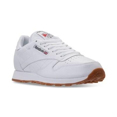 リーボック スニーカー シューズ メンズ Men's Classic Leather Casual Sneakers from Finish Line WHITE/GUM