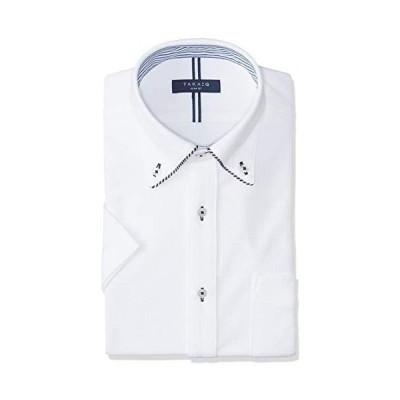 [タカキュー] 半袖 ワイシャツ 吸水速乾 ビズポロ ニットシャツ カジュアル ビジネスシャツ クールビズ対応 メンズ (ホワイト M)
