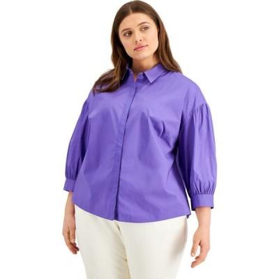 アルファニ Alfani レディース ブラウス・シャツ 七分袖 大きいサイズ トップス Plus Size 3/4-Sleeve Shirt Spicy Purple
