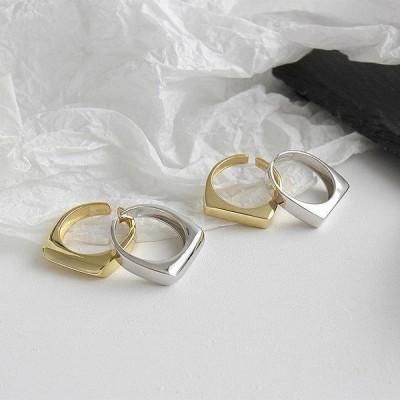 女性 のための韓国の ファッション 幾何学的な長方形のオープニング リング 結婚式 の ジュエリー クリエイティブトレンディなゴールドシル