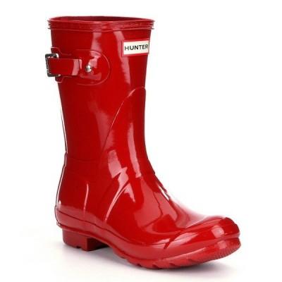 ハンター レディース ブーツ&レインブーツ シューズ Women's Original Short Gloss Buckle Strap Rain Boots Military Red