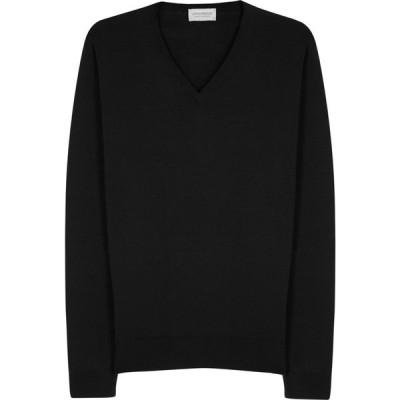 ジョンスメドレー John Smedley メンズ ニット・セーター トップス Blenheim Black Fine-Knit Wool Jumper Black