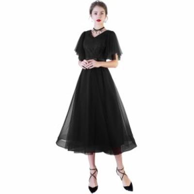 大きいサイズ XSから4XL 上品 ワンピース パーティー ドレス ミモレ丈 お呼ばれ 結婚式 二次会にも