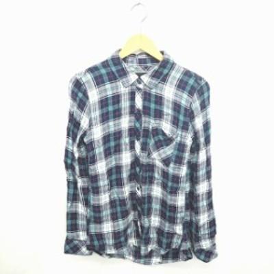 【中古】Rails シャツ ブラウス チェック ステンカラー 長袖 XS 紺 白 ネイビー ホワイト /TT43 レディース