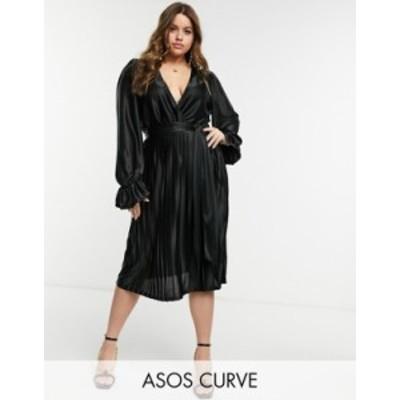エイソス レディース ワンピース トップス ASOS DESIGN Curve blouson sleeve belted wrap midi dress in black Black