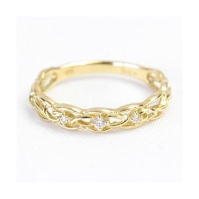ダイヤモンド リング レディース 指輪 ダイヤ 18金 18k K18 ゴールド 0.04ct エアリー 軽やか 文字入れ不可