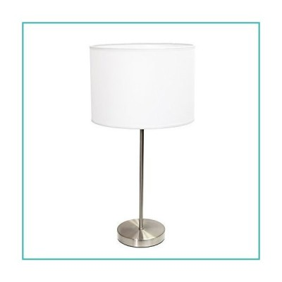 """Simple Designs LT2040-WHT Stick Fabric Shade Table Lamp, 3"""", Brushed Nickel/White【並行輸入品】"""