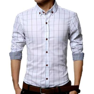 メンズ チェック 柄 シャツ 長袖 カジュアル ワイシャツ 大きいサイズ ビジネス