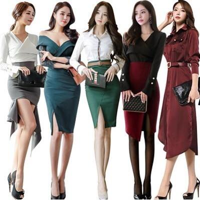 新作追加  高品質 韓国ファッション OL、正式な場合、礼装ドレス セクシーなワンピース、一字肩 二点セット、側開、深いVネック やせて見える、ハイウエ