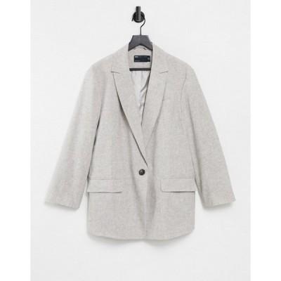 エイソス レディース ジャケット・ブルゾン アウター ASOS DESIGN slubby linen jacket in brown