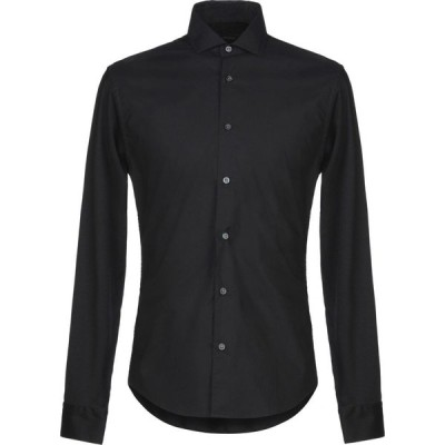 ZZEGNA メンズ シャツ トップス solid color shirt Black