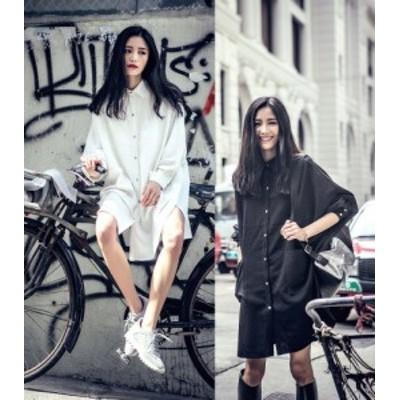 春服 レディース シャツワンピース 韓国 ファッション レディース ロングシャツ ビッグシルエット シャツ 春物 シャツワンピ 黒 白 シャ